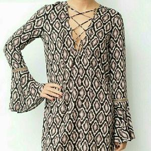 Cotton Candy Snakeskin Print Boho Lace-up Dress